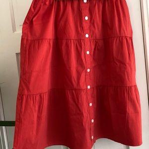 LOFT NWT Orange Red Lightweight Skirt Size Large